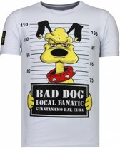 Local Fanatic Bad Dog - Rhinestone T-shirt - Wit - Maten: M