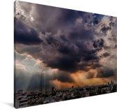 Zonnestralen schijnen over de stad Buenos Aires Canvas 140x90 cm - Foto print op Canvas schilderij (Wanddecoratie woonkamer / slaapkamer)