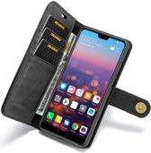 Huawei P20 Leren Portemonnee Hoesje Zwart
