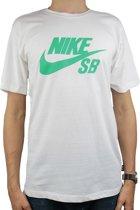 Nike SB Logo Tee 821946-103, Mannen, Wit, T-shirt maat: L EU
