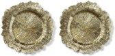 2x Ronde gouden kaarsenplateaus/kaarsenborden asymmetrisch 33 cm - onderborden / kaarsenborden / onderzet borden voor kaarsen