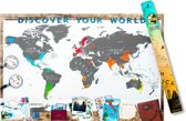 Kras Wereldkaart Deluxe XL - Scrape Map Scratch Off - 91,5 x 61 centimeter - Geschikt voor standaard formaat wissellijst