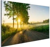 Zonsopkomst door de bomen Aluminium 30x20 cm - Foto print op Aluminium (metaal wanddecoratie)