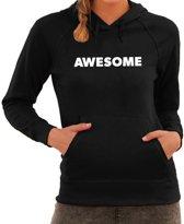 Awesome tekst hoodie zwart voor dames - zwarte fun sweater/trui met capuchon L