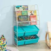 Kinderboekenrek - Boekenrek met 3 opbergvakken - Speelgoedrek - Kinderrek met 4 speelgoedkisten - Wit/blauw - ca: 61x102x25cm - Anno 1588