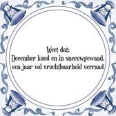 Tegeltje met Spreuk (Tegeltjeswijsheid): Weet dat: December koud en in sneeuwgewaad, een jaar vol vruchtbaarheid verraad + Kado verpakking & Plakhanger