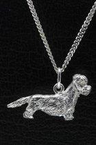 Zilveren Dandie dinmont terrier ketting hanger - groot