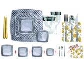 Deluxedisposables  -Luxe Kerst vierkant wegwerp eenmalig plastic tafel Serviesset voor 10 personen transparant - zilver  Diamond Collevtion + Decorative set : 20 servetten 33x33 cm + 2 kaarsen 24 cm GRATIS!