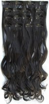 Clip in hair extensions 7 set wavy zwart - 1B#