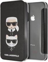 Karl Lagerfeld boekmodel voor iPhone XS MAX - Zwart