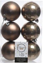 6x Kasjmier bruine kunststof kerstballen 8 cm - Mat/glans - Onbreekbare plastic kerstballen - Kerstboomversiering kasjmier bruin