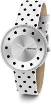 Lambretta Dots zwart - wit - horloge - 37 mm - leer