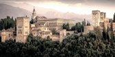 De Alhambra, paleis in Granada, Spanje, Andalusië in olieverf look | gebouw, modern, stad, sfeer | Foto schilderij print op Canvas (canvas wanddecoratie) | 120x60cm