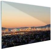 Las Vegas Strip bij zonsondergang Glas 60x40 cm - Foto print op Glas (Plexiglas wanddecoratie)