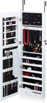 relaxdays Sieradenkast met spiegel - Spiegelkast hangend deur - Hangkast wit - oorbellen