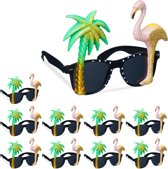 relaxdays 10 x party bril - flamingo - palmboom - feestbril - glitters – carnaval