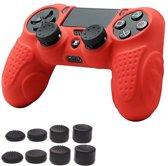 KELERINO. Siliconen cover voor Playstation 4 controller Inclusief Thumb Grip Set - Rood