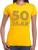 50 jaar goud glitter verjaardag t-shirt geel dames - verjaardag / jubileum shirts XL
