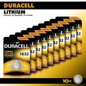 Duracell Knoopcel Lithium - CR1632 3V knoopcel batterijen - 137 mAh - voordeelverpakking - 10 stuks