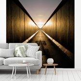 Fotobehang vinyl - Gespiegelde Berlijnse Muur breedte 280 cm x hoogte 280 cm - Foto print op behang (in 7 formaten beschikbaar)