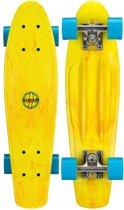 """Nijdam Plastic Pennyboard Splash Dye 22.5"""" - Flipgrip-board - Geel/Blauw"""