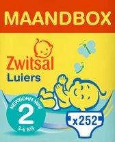 Zwitsal Maandbox Maat 2 (Newborn Mini) 3-6 kg Luiers - 252 stuks