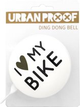 URBAN PROOF Ding Dong - Fietsbel - 80 mm - I love my bike Wit