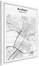 Stadskaart klein - Arnhem canvas 30x40 cm - Plattegrond