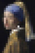 Meisje met de parel | Pixel Art | Johannes Vermeer | Canvasdoek | Wanddecoratie | 40CM x 60CM | Schilderij