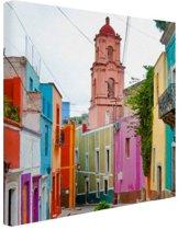 Gekleurde huizen Mexico Canvas 20x20 cm - Foto print op Canvas schilderij (Wanddecoratie woonkamer / slaapkamer)