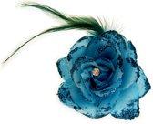 Bloem met speld/clip turquoise