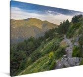 Pad door de bergen van het Nationaal park Sierra de Guadarrama in Spanje Canvas 30x20 cm - klein - Foto print op Canvas schilderij (Wanddecoratie woonkamer / slaapkamer)
