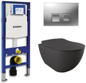 Geberit UP 100 toiletset - Inbouw WC Wandcloset - Creavit Mat Antraciet Geberit Delta-50 Mat Chroom