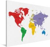 Wereldkaart met diverse kleuren op een witte achtergrond Canvas 30x20 cm - klein - Foto print op Canvas schilderij (Wanddecoratie woonkamer / slaapkamer)