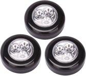 Luxe Zwarte Zelfklevende LED Druklampen Set - 3 Stuks | Werkt Zonder Stopcontact | LED per Mini Spot Lamp | Push Light | Druk Lamp | Licht voor Voorraadkasten | Tenten | Auto's en Boten