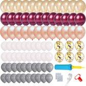 Bruiloft Ballonnenboog Versiering kit met strip en ballonnenpomp - Rose Goud Burgundy Decoratie
