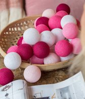 Cotton Ball Lights - Lichtslinger - 35 Cotton Balls - Pink