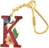 Behave® Sleutelhanger rood emaille letter K 4 cm