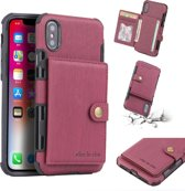 Let op type!! For iPhone XS Max Brushed Texture Shockproof PU + TPU Case  with Card Slots & Wallet & Photo Frame(Wine Red)
