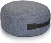 Klassieke premium poef - stof - grijs - 30cm x 60cm