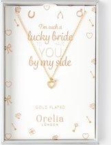 Orelia ketting kort - bruidscollectie ketting met hartje - goudkleurig - 40,5 cm + 5,0 cm verlengstuk