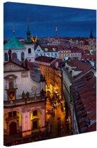 Praag by night Canvas 20x30 cm - Foto print op Canvas schilderij (Wanddecoratie)
