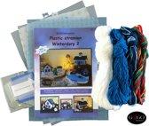 Plastic stramien borduurpakket Winterdorp deel 7 t/m 10. 3D borduren!