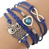 Fako Bijoux® - Multi Armband - Uiltje Hart Infinity - Donkerblauw
