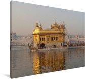 De Gouden Tempel in India Canvas 140x90 cm - Foto print op Canvas schilderij (Wanddecoratie woonkamer / slaapkamer)