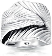 Boho ring Leaf - 925 zilver - maat 21.00 mm / maat 66