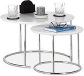 relaxdays bijzettafel 2er set - nest tafels rond - kleine salontafel 60 x 60 - hout - wit