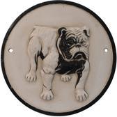 Gietijzeren - wandbord - bulldog - rond - gietijzer