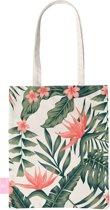 BEACHLANE - Katoenen tasje - Canvas Tote Bag Shopper - Tropical Desire / Bladeren / Roze print - Schoudertas / Boodschappen tas
