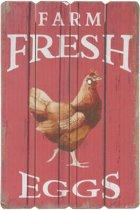 Tekstbord Farm Fresh Eggs - Mdf - 40 x 60 cm